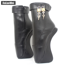 "Buy Women Fashion Sexy fetish Exotic Extreme 18cm/7"" High Heel Buckle Stiletto strange Hoof Heelless padlocks Ankle Ballet boots"
