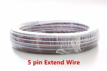 5m/10m/20/50m 4pin 5pin 22AWG Led Connect LED RGB cable Extension Extend Wire Cord Connect For RGB rgbw 5050 3528 LED Strip(China)