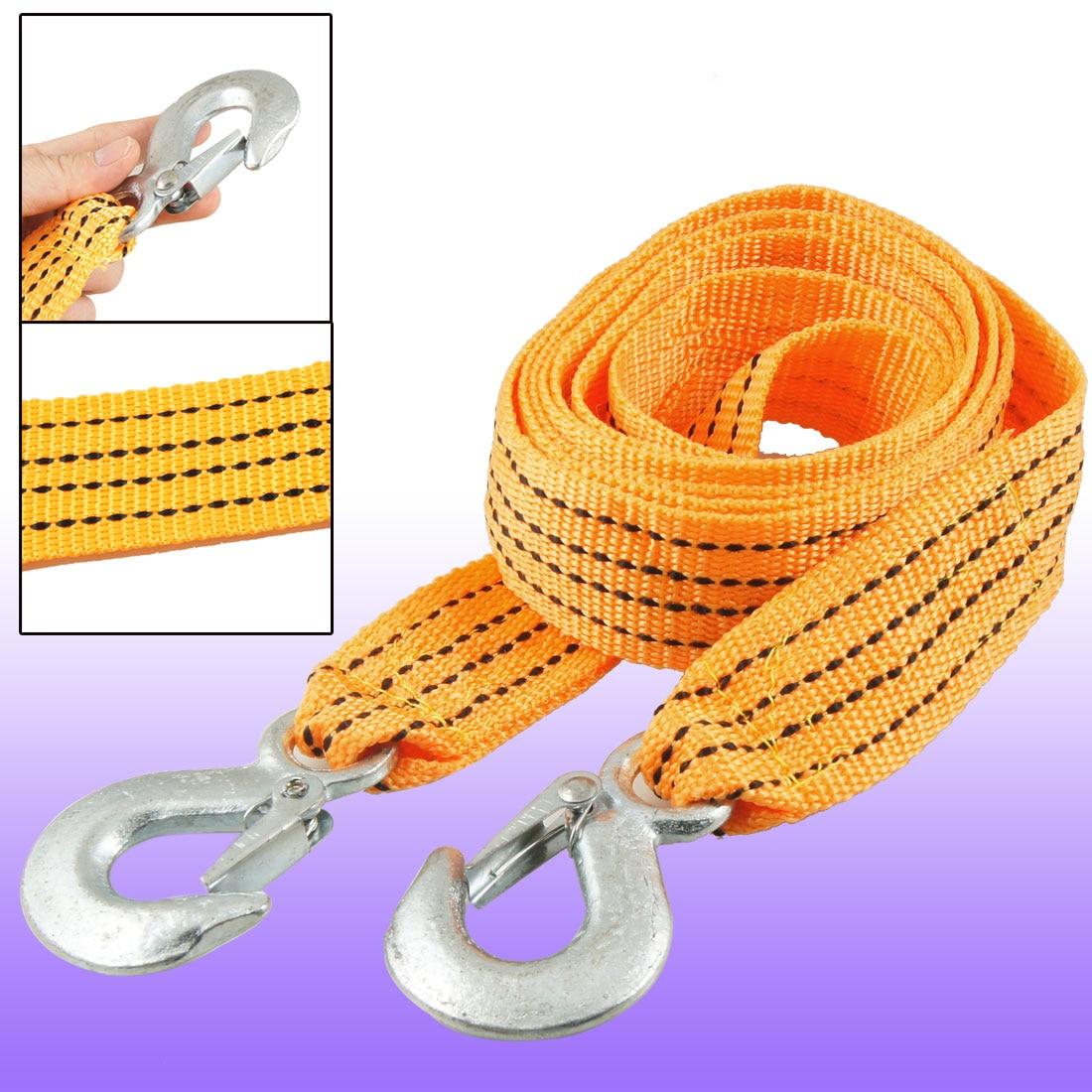 UXCELL Auto Car 3 Ton Capacity Hook Clasp Orange Black Nylon Tow Rope 2.5M