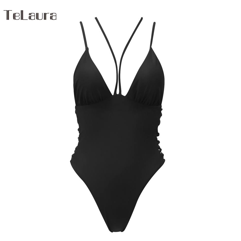 2018 Sexy One Piece Swimsuit Women Swimwear Bandage Monokini Hollow Out Bathing Suit Solid Swim Suit Bodysuit Summer Beach Wear 23