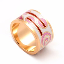 Promotions Rings for Women Men High Quality 13MM Width 18K Real Gold Plated Elegant Amazing Pattern Enamel Jewelry Ceramic Ring