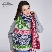 YOUHAN 2017 Women Scarf Stylish Warm Blanket Colourful Scraf Gorgeous Wrap Long Tassel Plaid Thick Brand Shawls & Scarves(China)