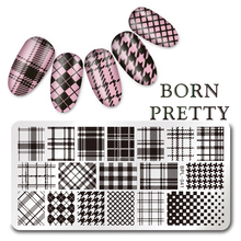BORN PRETTY Checked Design Rectangle Nail Stamping Template 12*6cm Manicure Nail Art Stamp Image Plate L041