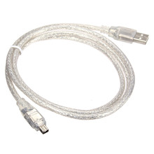 High Speed 1.2M 4FT USB 2.0 Male to 4 Pin Fire Wire IEEE 1394 Cable Lead Data Transfer Cable Extension Adapter Converter Silver(China)