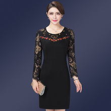 High Quality Free Shipping 2017 New Autumn Loaded Dress Mother Lace Fashion Mid Old Age Women Clothing Plus Size(China)
