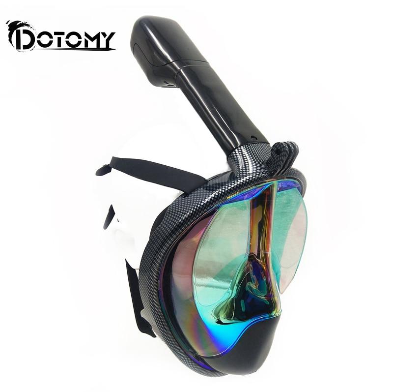 Diving Mask Carbon fiber plating Full Face Anti-fog mask Snorkeling adult  Anti-skid Underwater mask on sale<br>