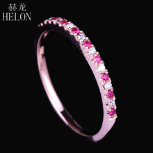 HELON Pave Natural Diamonds & Pink Sapphire Ring Solid 14k Rose Gold Women's Diamonds Ring Gemstones Engagement & Wedding Bands(China)