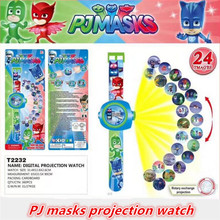 Cartoon pj masks party 3D projection watch pjmasks toys characters catboy owlette gekko cloak masks action figure toys gift