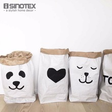 INS Fashion Eco-Friendly Heavy Kraft Paper Bag Children Room Toys Organizer Bag Folding Storage Shopping Bags 61*32*16cm