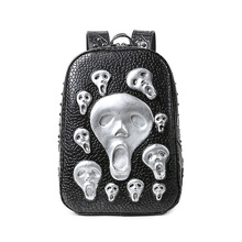 Female backpack skull punk rock fashion ghost backpacks for teenage girls high quality PU leather laptop school bags