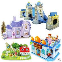 1 set 3D Foam Puzzles Cartoon Princess Castle Dinosaur World Girls And Boys Building Block Educational Puzzles Kid Gift Toy