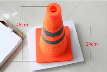 45cm High Folding Reflective Safety Cones Warning Reflective Plastic Road Cone Road Traffic Safety Sign