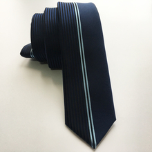 Designer's Tie Fashion Skinny Panel Necktie Half Solid Blue with Vertical Stripes Gravata Free Shipping