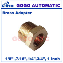 "10pcs a lot Brass plumbing water conduit fitting 1/8 1/4 7/16 1"" male to female BSP thread union butt connector copper adapter(China)"