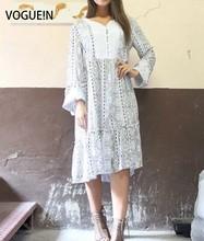 VOGUE!N New Womens Ladies Vintage Paisley Print Lace Mix Trumpet Sleeves Mini Shift Dress Wholesale