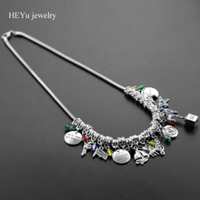 "Hamilton Broadway Musical Alloy Big Statement Necklace ""Rise up""Bracelet with Star,Gun,Music Symbol,Leaf Charms Necklace(China)"