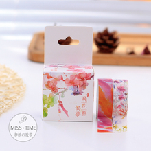 2pcs Gouache Flowers Japanese Washi Tape 15MM * 3M Decorative Scotch Tape Papelaria For Scrapbooking Stickers Diy Washitape