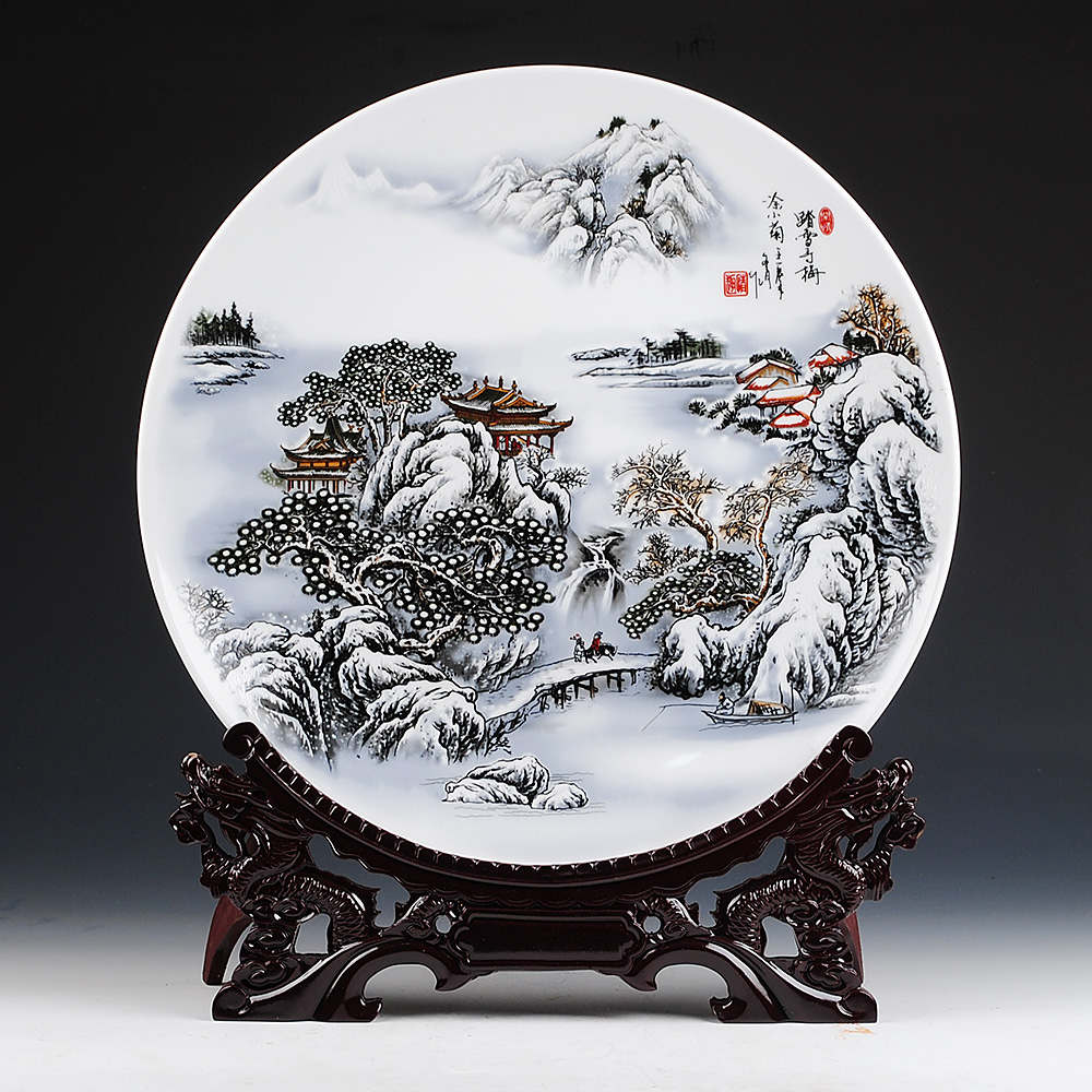 White ceramic plates for crafts - Jingdezhen Ceramics 41cm Snow Hanging Plate Plate Of Modern Chinese Living Decoration Decoration Crafts Large