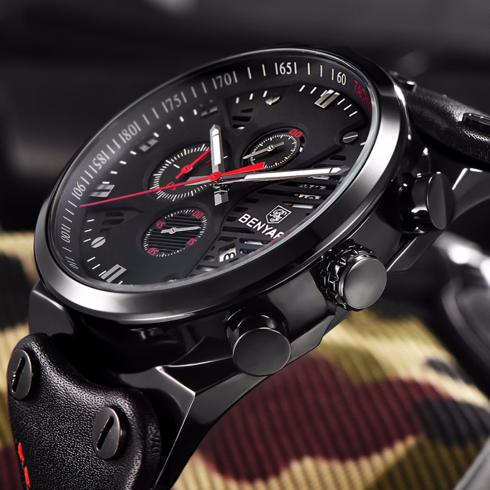 Brand BENYAR 2017 new mens watches quartz Chronograph watch men real three dial luminous waterproof 30M outdoor sports watch<br>