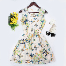 New Brand 2016 Summer Women dress Casual Print Sleeveless Dress Chiffon stripe floral print Elastic Waist Bohemian Beach Dresses