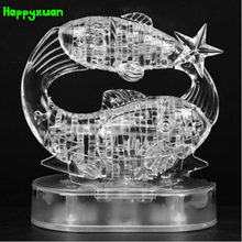 Happyxuan DIY 3D Jigsaw Crystal Puzzle Zodiac Pisces Constellation Transparent pink Plastic Home Decoration