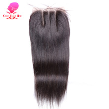 QUEEN BEAUTY HAIR Brazilian Virgin Hair Straight Human Hair Closure 4*4 Three Part Lace Closure Bleached Knots With Baby Hair