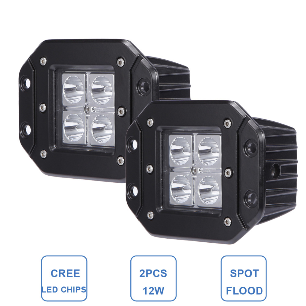 For Jeep Ford 12W Offroad LED Work Light Flush Mount Bumper Rear Backup Lighting 4x4 Car Trailer Truck SUV ATV 4WD 12v 24V Lamp<br><br>Aliexpress