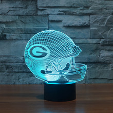 Green Bay Packers NFL Team Logo 3D Table Lamp 7 Colors Changing Night Light Decor Bedroom LED Lighting Spot Christmas Gift
