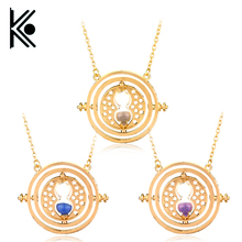 wholesale price!Hermione Granger Rotating Time Turner Necklace Gold/silver color Hourglass for Women/Men Movie Jewelry(China)