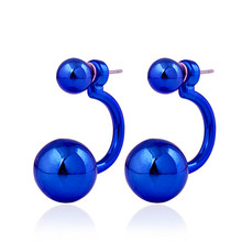2017 Hot Sale Women Girls Punk Double Balls Connected UV Shining Metal Fashion Hook Stud Earrings 9 Color to Choose Great Gifts
