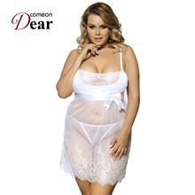Comeondear White Lace Ladies Transparent Plus Size Lingerie Fitness Underwear Women Sex RB70225 2017 Sexy Night Gown Sleepwear(China)
