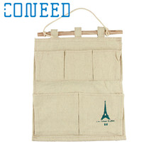 New Arrival Cotton Tower Storage Bag 5 pocket wall hanging bags multi-layer fabric debris storage organizer pastoral 1pcs