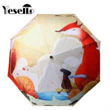 Yesello Cute Fox Girl Cartoon Illustration Three Folding Umbrella 8 Rib Wind Resistant Frame For Mom