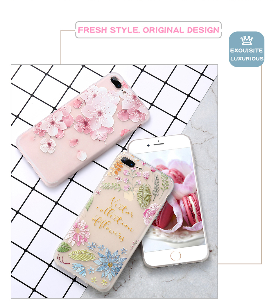 flower patterned case for iPhone 6 6s 7 Plus (2)
