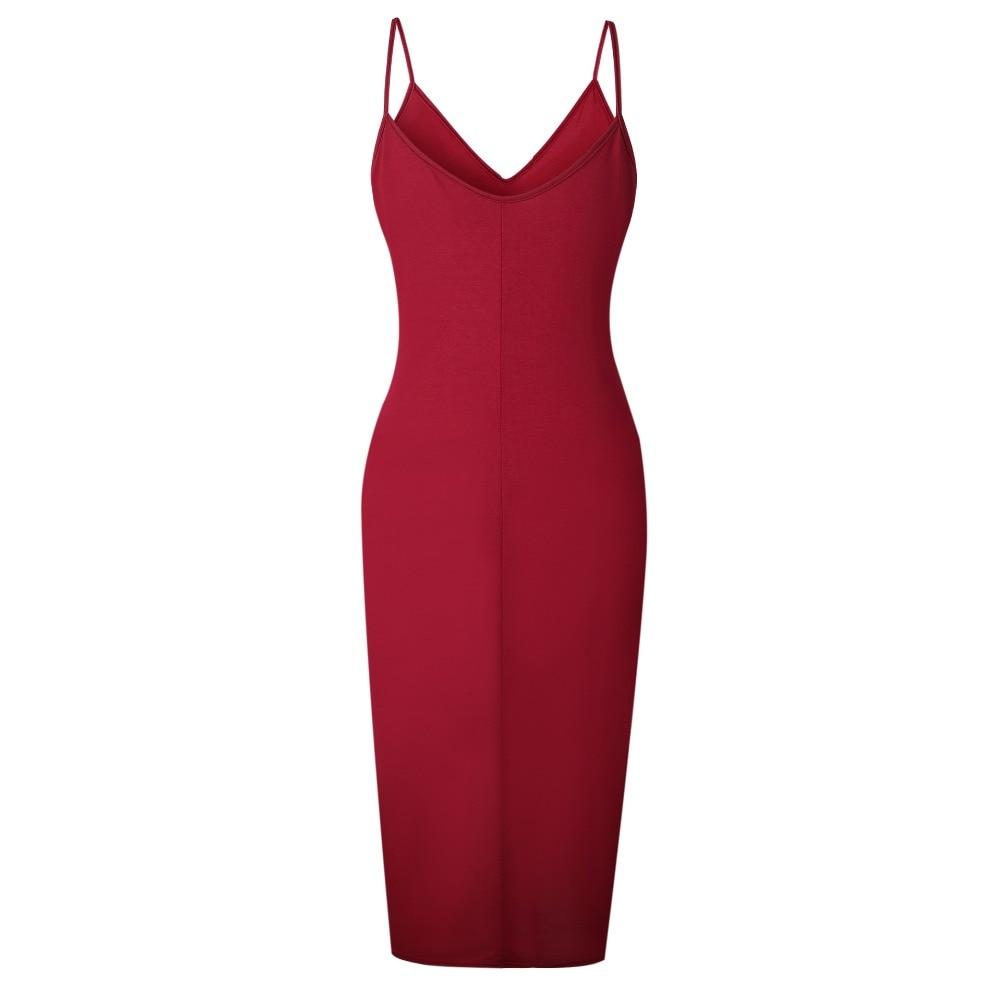 TQNFS Deep V Neck Bodycon Dress Women Sleeveless Casual Summer Dress Women Solid Split 2018 Spring Dresses Robe Femme 10