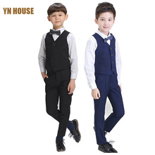 2017 Promotion Big Boys Vest Clothing Set Children Leisure Clothes Kids Wedding Prom Suits Christmas Costumes For Tie Shirt(China)