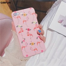 GIMFUN Pink Fashion Cartoon Flamingo  Phone Case for IPhone 7 7plus   I6 6S Plus Scrub Plastic Lovely Animals Birds Funda Coque
