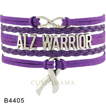 (10 PCS/Lot)Infinity Love Alzheimer Warrior Hope Awareness Bracelet Ribbon Bracelets for Women Fighters Purple Leather Jewelry