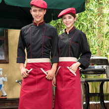 Women Chef Uniform Chef Uniform Offer Real Cotton Brazil Barbecue Fashion High-grade Korean Hotel Coat Bakery Bakers Overalls