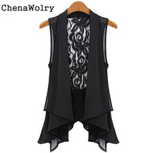 Casual Slim Fit Attractive Women Fashion Slim Asymmetric Chiffon Cardigan Vest Long Lace Clip Waistcoats #KN5625(China)