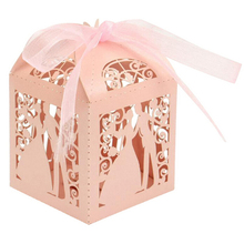 50 Pcs/pack Candy Holders Lover bride groom Shape Wedding Candy Box Sweets Gift Favor Boxes With Ribbon 5 Colors(China)