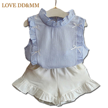 Girls Clothing Sets 2017 Summer New Girls Clothes Fresh Sweet Wood Ear Design Wrinkle Cotton T-shirt + Shorts Suits(China)