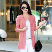 2017 new spring autumn Miss Han Ban sweater coat long-sleeved cardigan thin sweater long section of large size women's coat 3xl