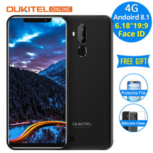 "Oukitel C12 Pro 4g 6.18 ""19:9 Android 8.1 Face ID 16 2 gb RAM gb ROM 3300 mah MT6739 Quad Core Impressão Digital Do Telefone móvel de Smartphones(China)"