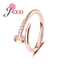 JEXXI Women/Girl Simple Nail Design Rings  Yellow Gold Color Fashion Party Accessories Cool Christmas Gift Wholesale