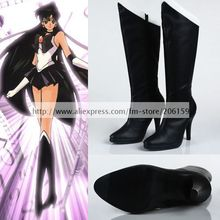 Sailor Moon Meiou Setsuna Cosplay Shoes Black Hight Heel Pumps Shoes Lady Boots