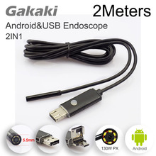 Gakaki 5.5mm Lens 2in1 Android USB Endoscope Camera 2M OTG USB Snake Tube Inspection Camera CAR Detection Waterproof Endoscoop(China)