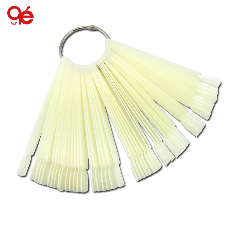 Hot Sell 50x Fan-shaped Natural False Nail Art Tips Sticks Polish Display Free Shipping(China (Mainland))