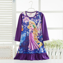2017 Cartoon Anna Elsa Girls Nightgown Spring Summer Long Sleeve Baby Pajamas For Girls Sleepwear Kids Nightie Dress Nightgown(China)