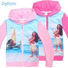 Moana jackets for girls princesse vaiana and Maui pig surfing on ocean kids Christmas party clothes girl Autumn cat dog coats 10(China)